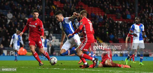 Blackburn Rovers' Derrick Williams scores his sides opening goal during the Sky Bet Championship match between Blackburn Rovers and Cardiff City at...