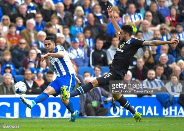 Blackburn Rovers' Derrick Williams tries to block Brighton Hove Albion's Beram Kayal cross during the Sky Bet Championship match between Brighton...