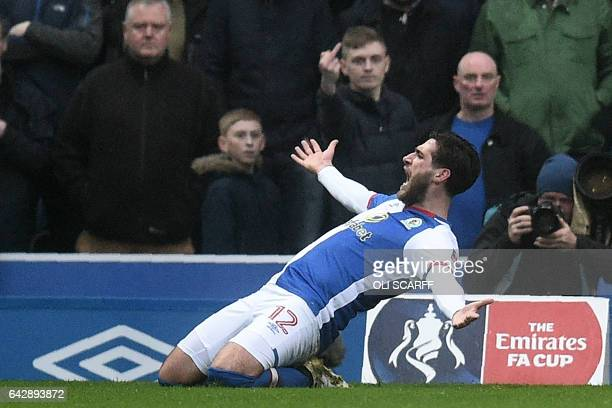 Blackburn Rovers' English striker Danny Graham celebrates after scoring their first goal during the English FA Cup fifth round football match between...