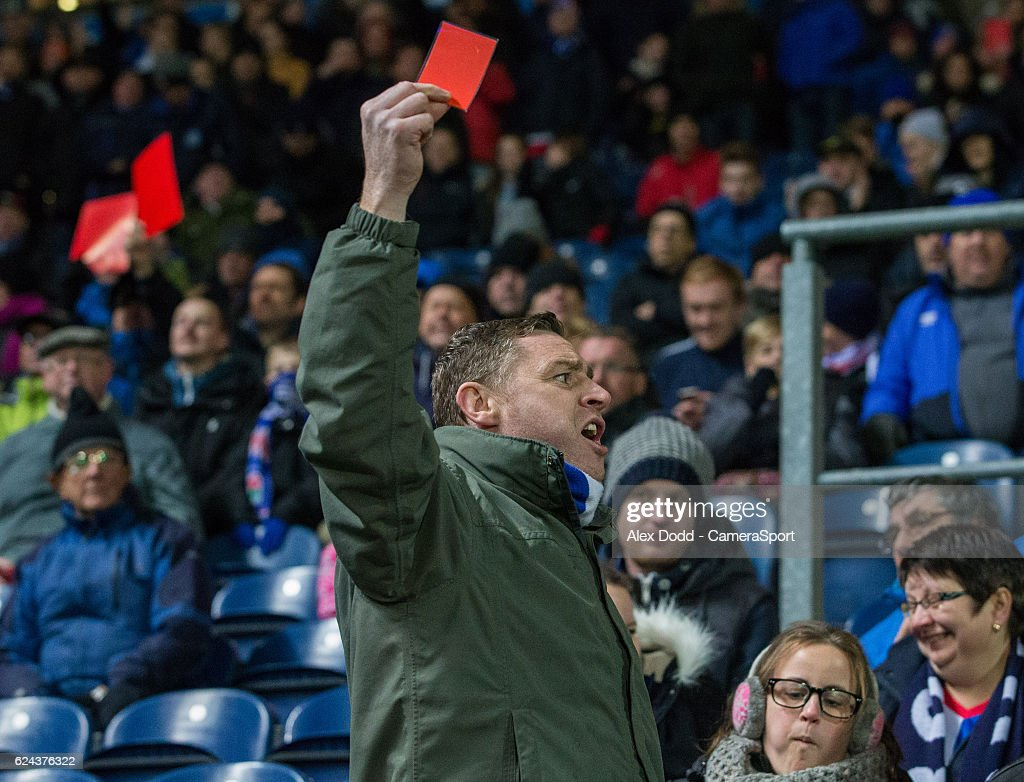 Blackburn Rovers fans voice their anger towards owners Venkys during the second half during the Sky Bet Championship match between Blackburn Rovers and Brentford at Ewood Park on November 19, 2016 in Blackburn, England.