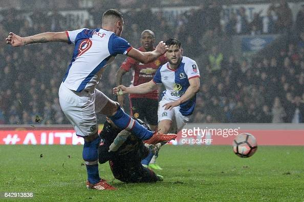 Blackburn Rovers' Irish striker Anthony Stokes puts the ball in the net but it is disallowed for offside during the English FA Cup fifth round...