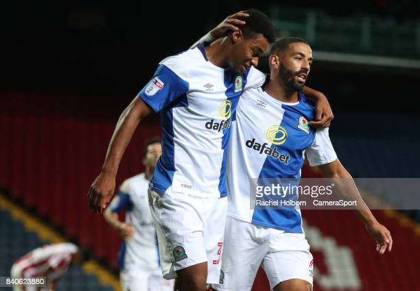 Blackburn Rovers' Joe Nuttall celebrates scoring his sides first goal during the match EFL Checkatrade Trophy Northern Section Group C match between...