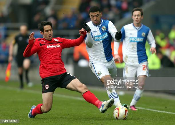 Blackburn Rovers Leon Best is challenged by Cardiff City's Peter Whittingham during the npower Football League Championship match at the Cardiff City...