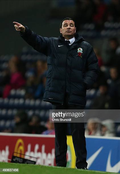 Blackburn Rovers manager Gary Bowyer gestures from the touchline during the Sky Bet Championship match between Blackburn Rovers and Derby County at...