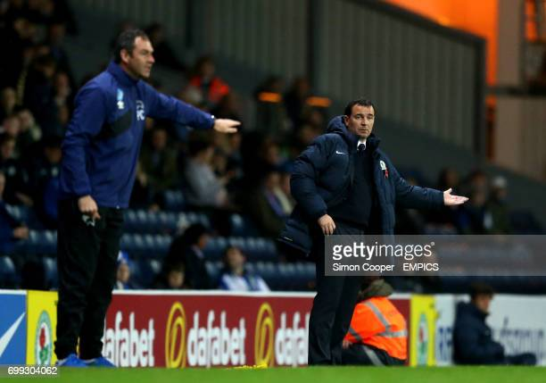 Blackburn Rovers manager Gary Bowyer gestures on the touchline beyond Derby County manager Paul Clement