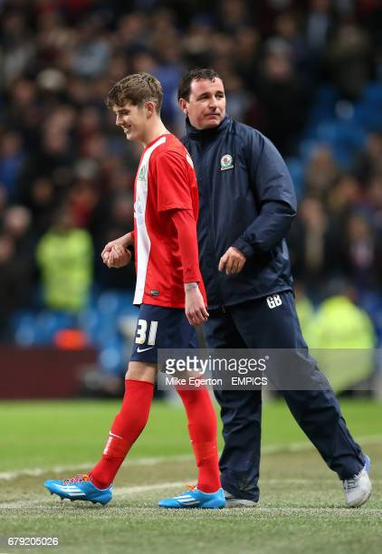 Blackburn Rovers manager Gary Bowyer gives instructions to Connor Mahoney