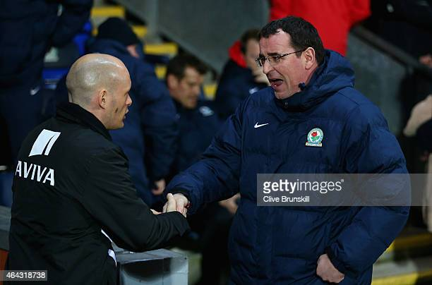 Blackburn Rovers manager Gary Bowyer with Norwich City manager Alex Neil prior to the Sky Bet Championship match between Blackburn Rovers and Norwich...
