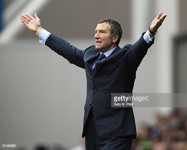 Blackburn Rovers Manager Graeme Souness directs his team from the sidelines during the FA Barclaycard Premiership match between Blackburn Rovers and...