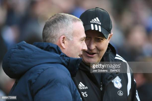 Blackburn Rovers manager Paul Lambert and Cardiff City manager Russell Slade on the touchline