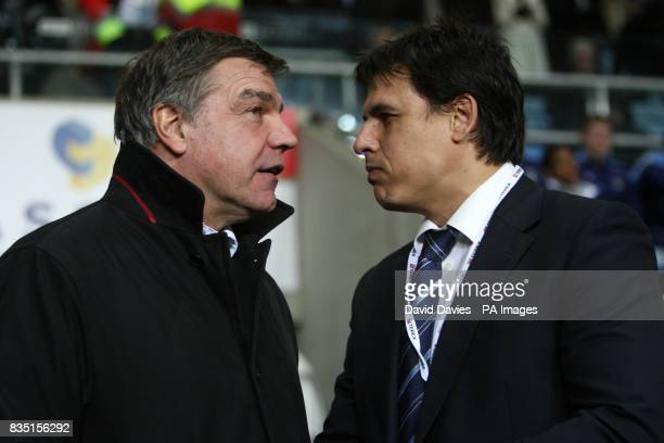 Blackburn Rovers manager Sam Allardyce and Coventry City manager Chris Coleman in conversation prior to kick off