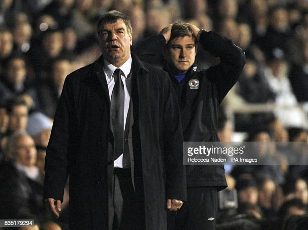 Blackburn Rovers manager Sam Allardyce and first team coach Karl Robinson on the touchline
