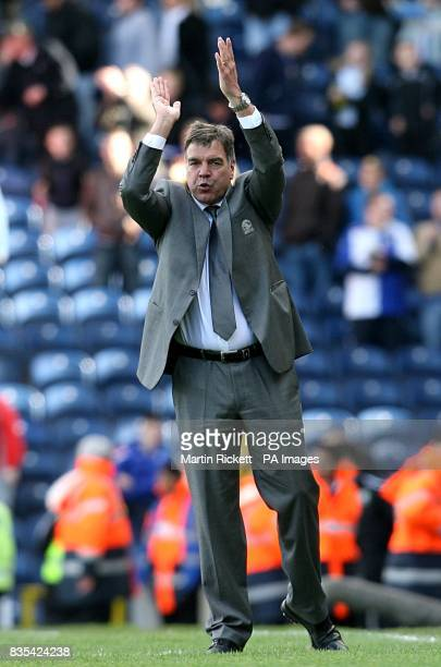 Blackburn Rovers manager Sam Allardyce applauds the fans atfer the final whistle