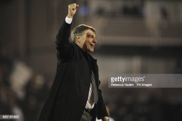 Blackburn Rovers manager Sam Allardyce celebrates his sides victory after the final whistle