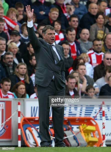 Blackburn Rovers Manager Sam Allardyce gestures during the Barclays Premier League match between Stoke City and Blackburn Rovers at The Britannia...