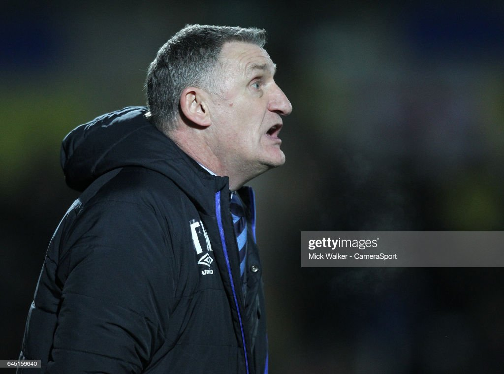 Blackburn Rovers Manager Tony Mowbray during the Sky Bet Championship match between Burton Albion and Blackburn Rovers at Pirelli Stadium on February 24, 2017 in Burton-upon-Trent, England.