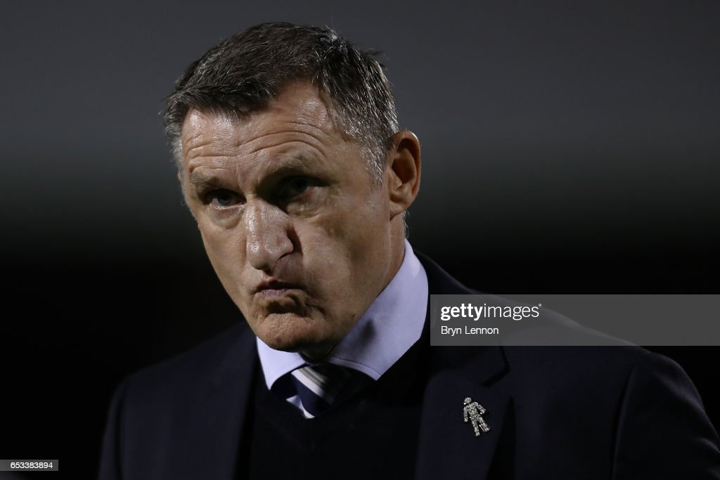 Blackburn Rovers Manager Tony Mowbray looks on prior to the Sky Bet Championship match between Fulham and Blackburn Rovers at Craven Cottage on March 14, 2017 in London, England.