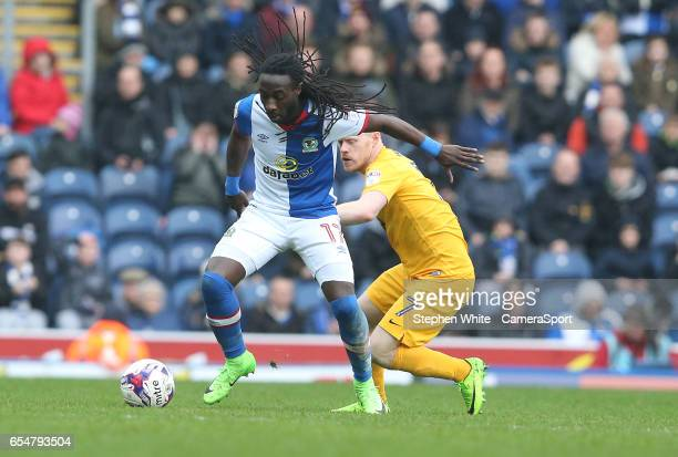 Blackburn Rovers' Marvin Emnes holds off the challenge from Preston North End's Daryl Horgan during the Sky Bet Championship match between Blackburn...