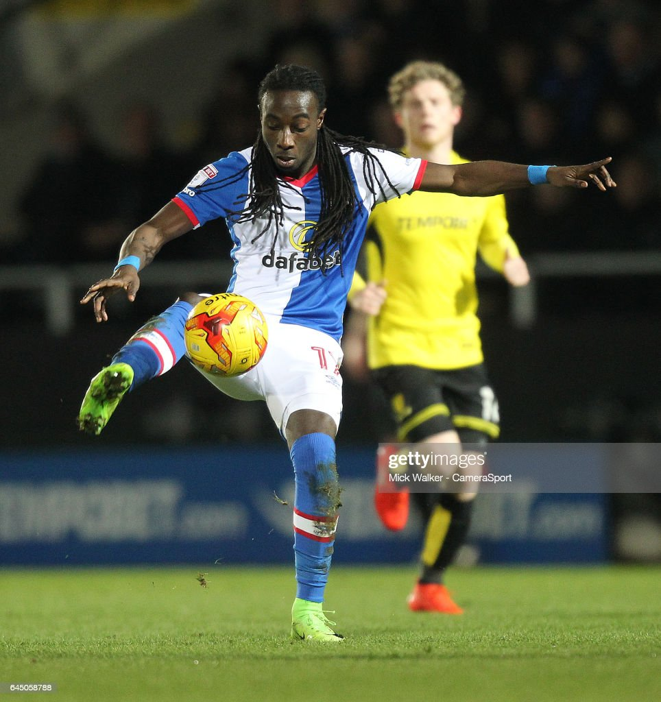 Blackburn Rovers Marvin Emnes in action during the Sky Bet Championship match between Burton Albion and Blackburn Rovers at Pirelli Stadium on February 24, 2017 in Burton-upon-Trent, England.
