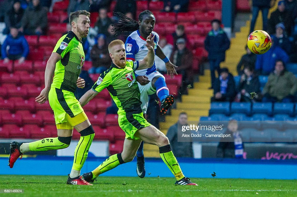Blackburn Rovers' Marvin Emnes rattles the bar with a thunderous strike during the Sky Bet Championship match between Blackburn Rovers and Reading at Ewood Park on December 17, 2016 in Blackburn, England.