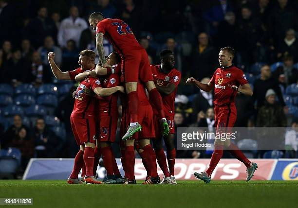 Blackburn Rovers players celebrate after Craig Conway scored during the Sky Bet Championship match between Leeds United and Blackburn Rovers on...