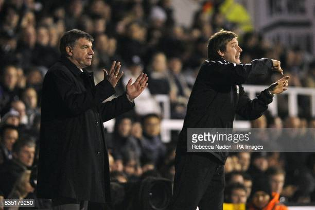 Blackburn Rovers Sam Allardyce and first team coach Karl Robinson give out instructions on the touchline