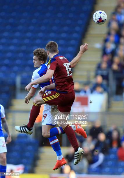 Blackburn Rovers' Sam Gallagher and Ipswich Town's Adam Webster contest a header