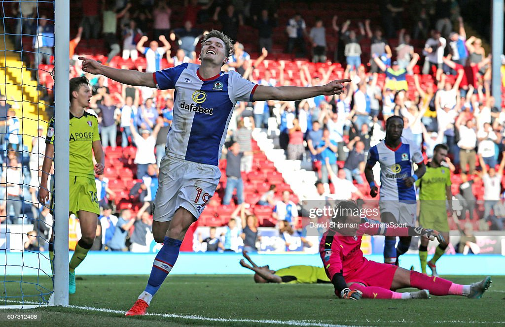 Blackburn Rovers' Sam Gallagher celebrates scoring his sides fourth goal during the Sky Bet Championship match between Blackburn Rovers and Rotherham United Kingdom at Ewood Park on September 17, 2016 in Blackburn, England.