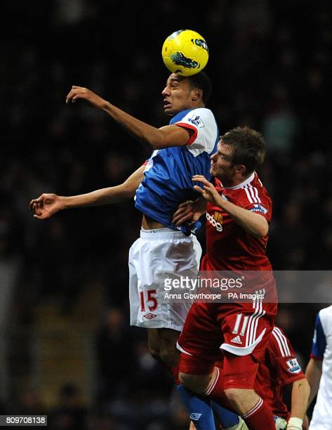 Blackburn Rovers' Steven Nzonzi and West Bromwich Albion's Chris Brunt in action