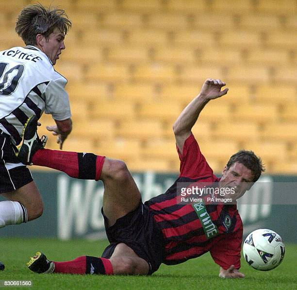 Blackburn Rovers' Stig Bjornebye and Port Vale's Stephen McPhee battle for the ball during the pre season friendly at Vale Park Stoke on Trent