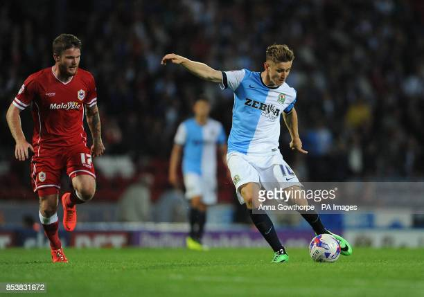 Blackburn Rovers' Tom Cairney takes a shot during the Sky Bet Championship match Ewood Park Blackburn