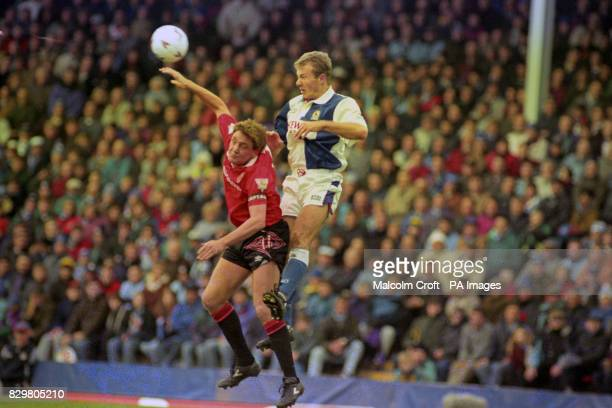 Blackburn Rovers's Alan Shearer outjumps Manchester United captain Steve Bruce for a high ball during the FA Carling Premiership match at Ewood Park...