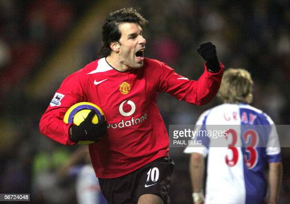 Manchester United's Ruud van Nistelrooy celebrates scoring his first goal against Blackburn Rovers during their English Premiership soccer match at...