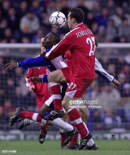 Blackburn's Andy Cole battles with Charlton's Jorge Costa in Blackburn's 41 win during their FA Barclaycard Premiership match at Blackburn's Ewood...
