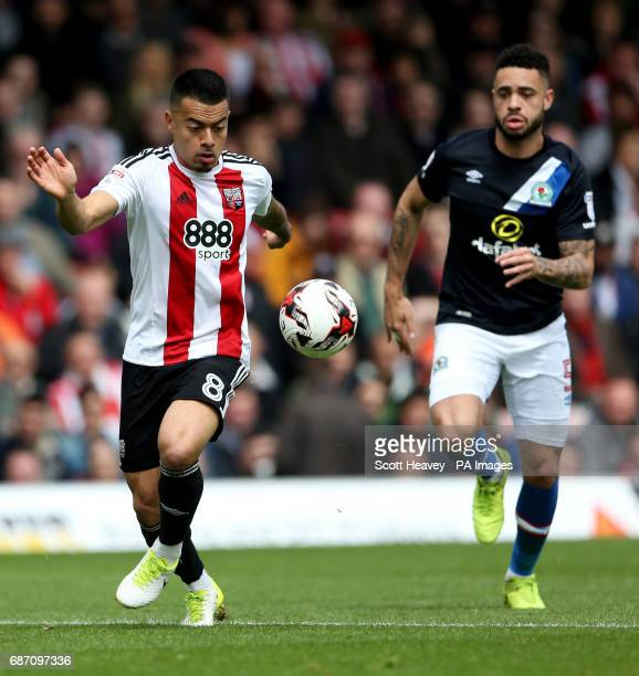 Blackburn's Derrick Williams chases down Brentford's Nico Yennaris during the Sky Bet Championship match at Griffin Park London