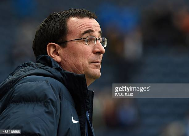 Blackburn's English manager Gary Bowyer looks on ahead of the English FA Cup fifth round football match between Blackburn Rovers and Stoke City at...