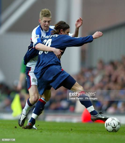 Blackburn's Jon Stead battles with Portsmouth's Alexei Smertin during the FA Premier league match at Ewood Park Blackburn THIS PICTURE CAN ONLY BE...
