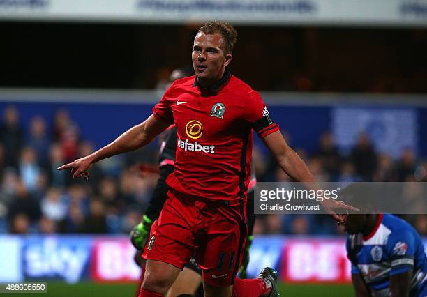 Blackburn's Jordan Rhodes celebrates after scoring his team's second goal of the game during the Sky Bet Championship match between Queens Park...