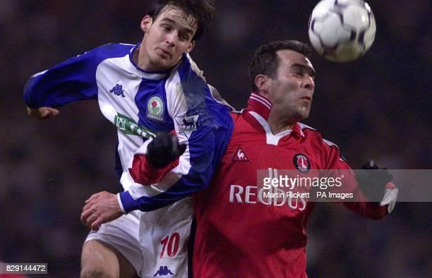 Blackburn's Matt Jansen battles with Charlton's Jorge Costa in Blackburn's 41 win during their FA Barclaycard Premiership match at Blackburn's Ewood...
