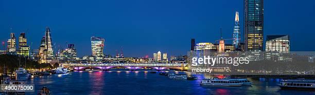 Blackfriars bridge, City of London and Southwark, UK at dusk