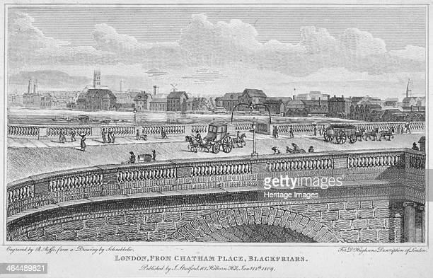 Blackfriars Bridge London 1809 View of the original Blackfriars Bridge designed by Robert Mylne and opened in 1869 from Chatham Place