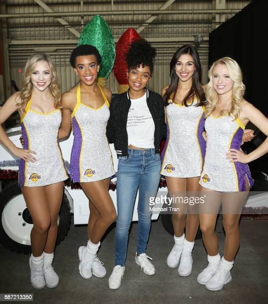'Blackish' star Yara Shahidi and the Laker Girls join Delta Air Lines in hosting 7th Annual 'Holiday In The Hangar' event held at LAX Airport on...
