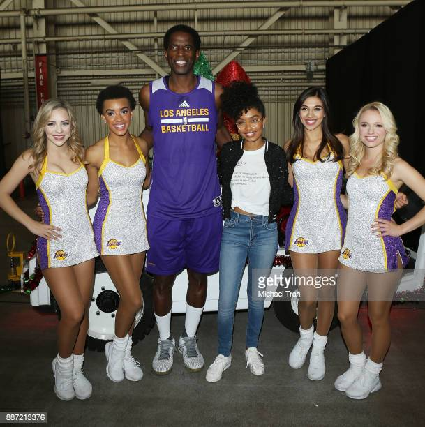'Blackish' star Yara Shahidi with AC Green and the Laker Girls join Delta Air Lines in hosting 7th Annual 'Holiday In The Hangar' event held at LAX...