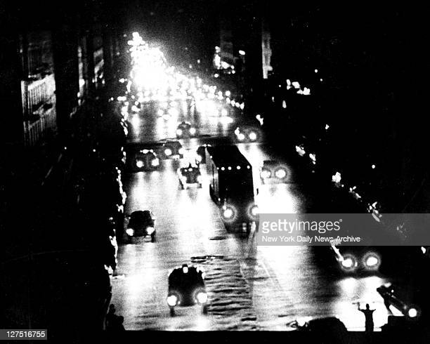 Blackout Power Failure View of 59th St in New York City during power outage which caused 1977 blackout