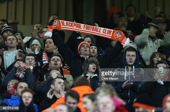 Blackpool fan displays his scarf during the FA Cup Third Round match between Aston Villa and Blackpool at Villa Park on January 4 2015 in Birmingham...