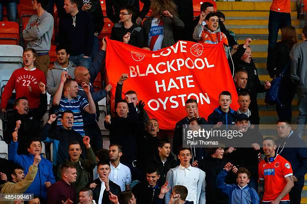 Blackpool fans protest over the clubs ownership at full time of the Sky Bet Championship match between Blackpool and Burnley at Bloomfield Road on...