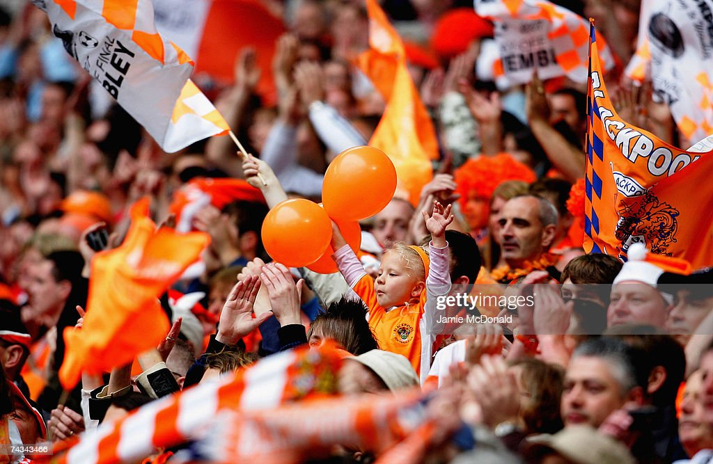 Blackpool fans show their colours during the League 1 Playoff Final between Blackpool and Yeovil Town at Wembley Stadium on May 27 2007 in London...