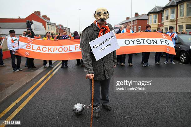 Blackpool fans take part in a protest before the Sky Bet Championship match between Blackpool and Huddersfield Town at Bloomfield Road on May 2 2015...