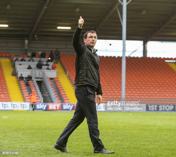 Blackpool manager Gary Bowyer gives the fans the thumbs up after the match during the Sky Bet League Two match between Blackpool and Leyton Orient at...