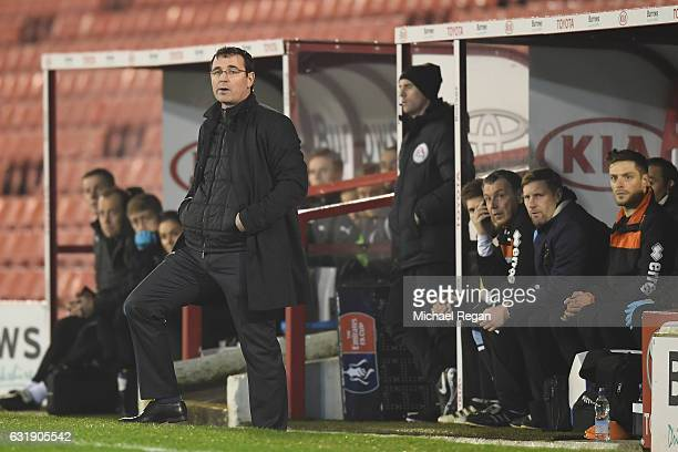 Blackpool manager Gary Bowyer looks on during the The Emirates FA Cup Third Round Replay between Barnsley and Blackpool at Oakwell Stadium on January...