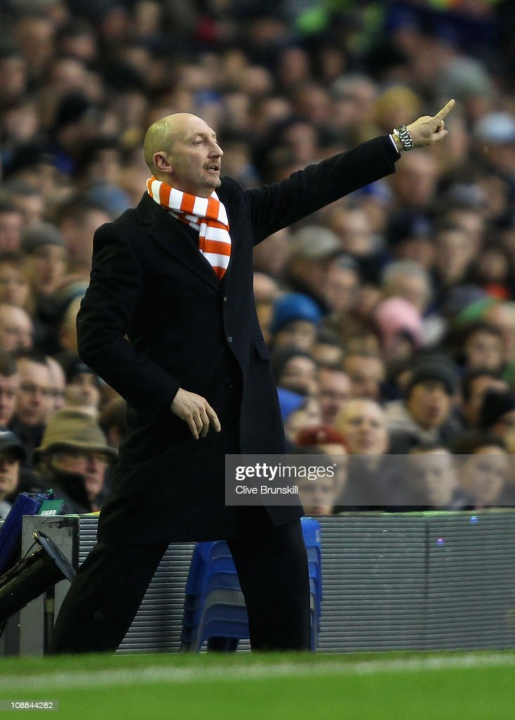 Blackpool manager Ian Holloway shouts instructions to his team during the Barclays Premier League match between Everton and Blackpool at Goodison...